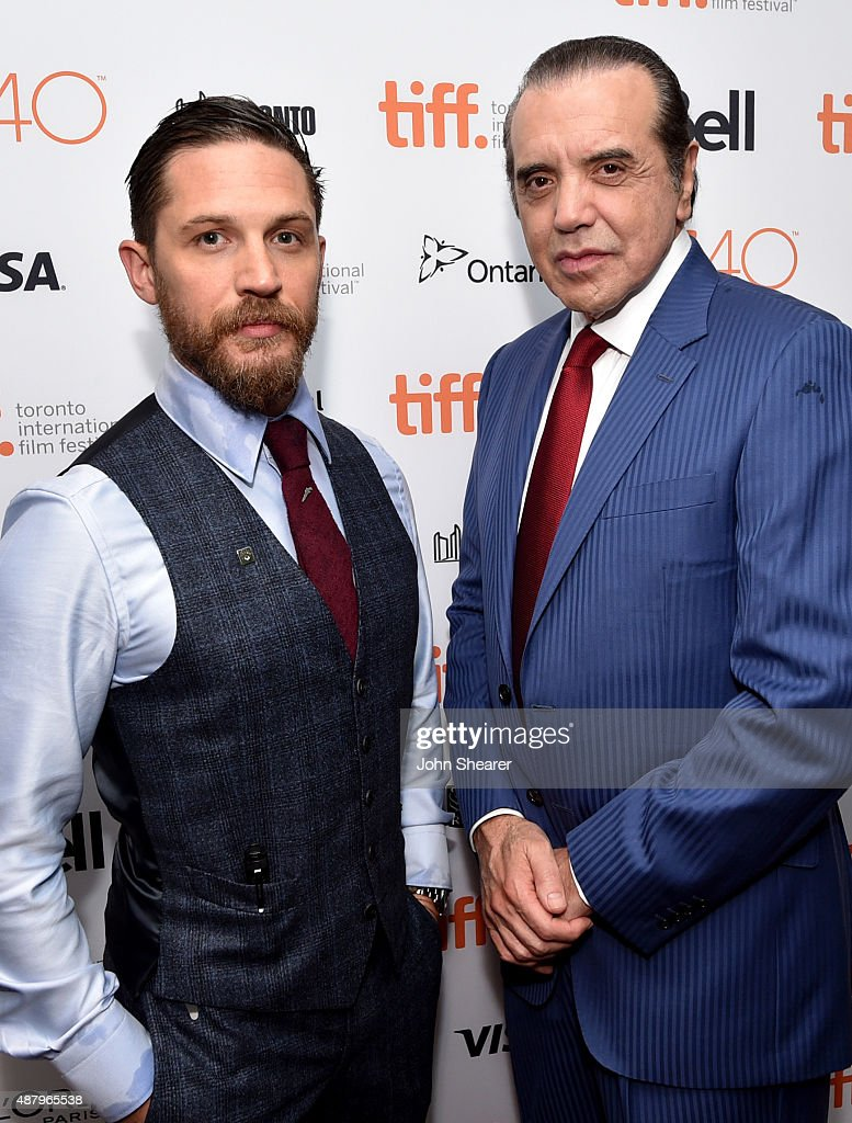 Actors Tom Hardy and Chazz Palminteri attend the 'Legend' gala screening during the 2015 Toronto International Film Festival at Roy Thomson Hall on...
