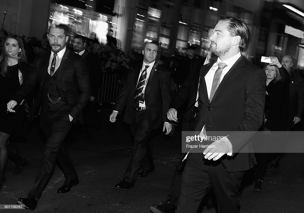 image converted from color to B|W). Actors Tom Hardy and Leonardo DiCaprio arrive at the Premiere Of 20th Century Fox And Regency Enterprises' 'The Revenant' at TCL Chinese Theatre on December 16, 2015 in Hollywood, California.
