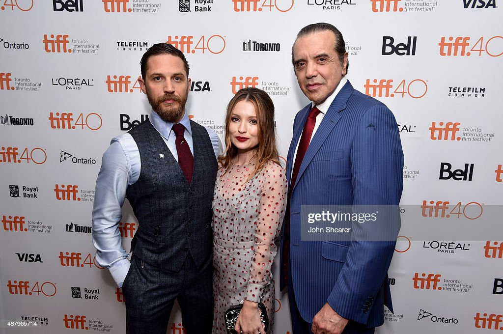 Actors Tom Hardy Emily Browning and Chazz Palminteri attend the 'Legend' gala screening during the 2015 Toronto International Film Festival at Roy...