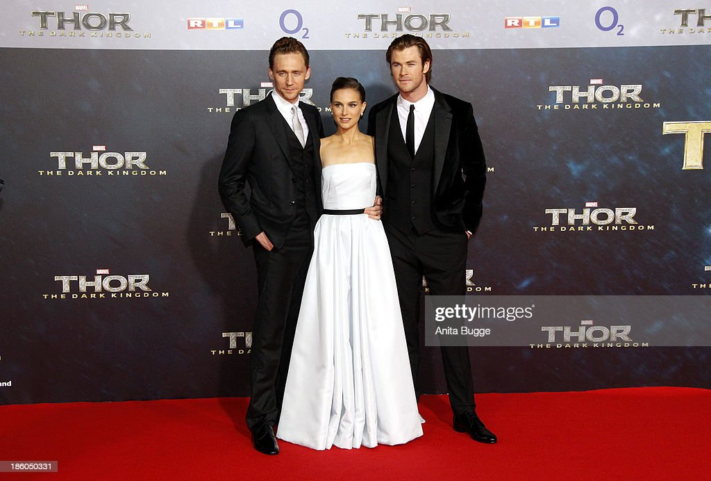 Actors <a gi-track='captionPersonalityLinkClicked' href=/galleries/search?phrase=Tom+Hiddleston&family=editorial&specificpeople=4686407 ng-click='$event.stopPropagation()'>Tom Hiddleston</a>, actress <a gi-track='captionPersonalityLinkClicked' href=/galleries/search?phrase=Natalie+Portman&family=editorial&specificpeople=202035 ng-click='$event.stopPropagation()'>Natalie Portman</a> and actor <a gi-track='captionPersonalityLinkClicked' href=/galleries/search?phrase=Chris+Hemsworth&family=editorial&specificpeople=646776 ng-click='$event.stopPropagation()'>Chris Hemsworth</a> attend the 'Thor: The Dark World' Germany premiere at Cinestar on October 27, 2013 in Berlin, Germany.