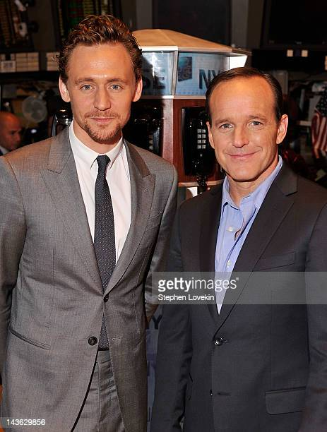 Actors Tom Hiddleston and Clark Gregg pose for a photo as part of a celebration of the release of Marvel Studios' 'Marvel's The Avengers' after...