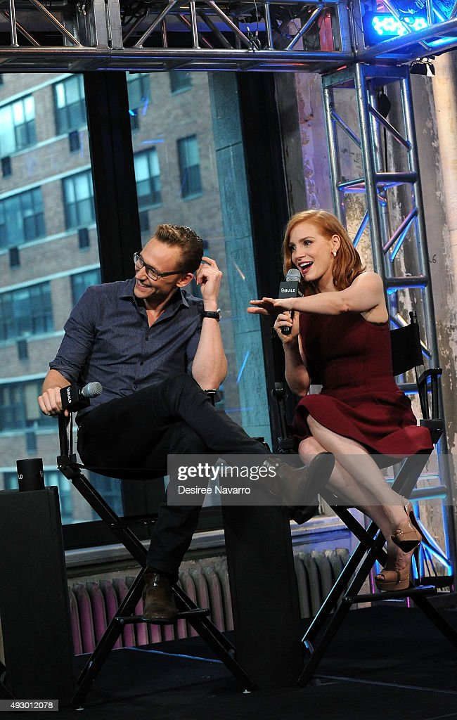 Actors Tom Hiddleston and Jessica Chastain attend AOL BUILD Presents 'Crimson Peak' at AOL Studios In New York on October 16, 2015 in New York City.