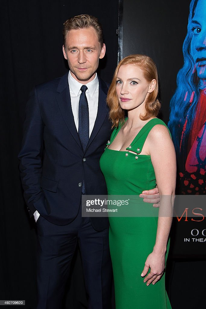 Actors Tom Hiddleston (L) and Jessica Chastain attend the 'Crimson Peak' New York premiere at AMC Loews Lincoln Square on October 14, 2015 in New York City.