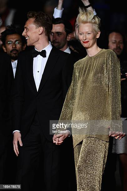 Actors Tom Hiddleston and Tilda Swinton attend the 'Only Lovers Left Alive' premiere during The 66th Annual Cannes Film Festival at the Palais des...