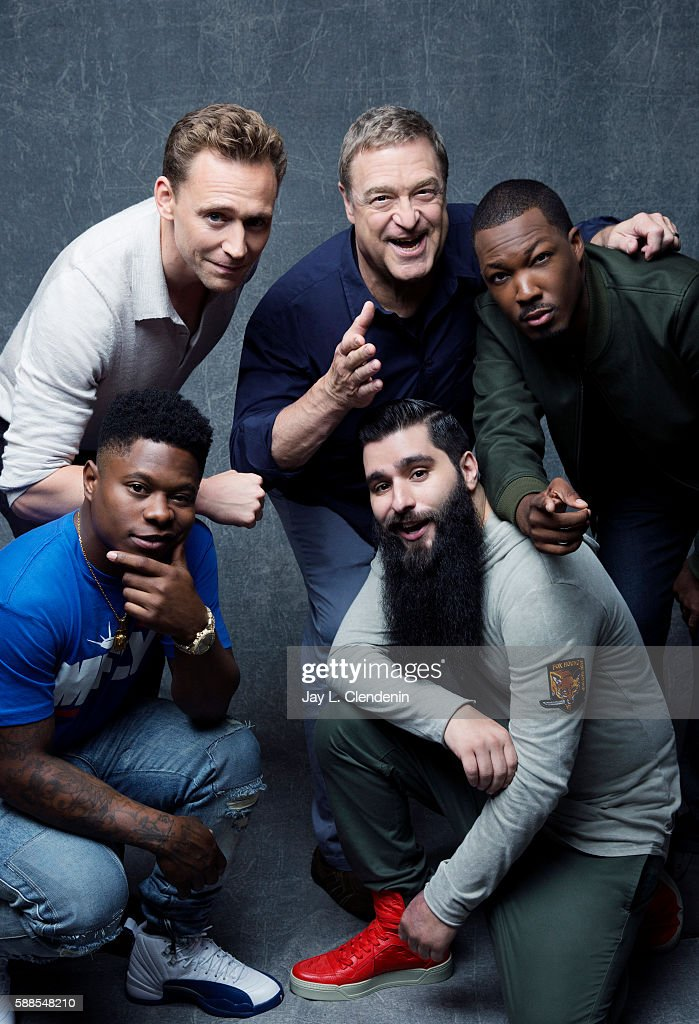 Actors Tom Hiddleston, John Goodman, Corey Hawkins, Jason Mitchell, and director Jordan Vogt-Roberts of 'Kong: Skull Island' are photographed for Los Angeles Times at San Diego Comic Con on July 22, 2016 in San Diego, California.