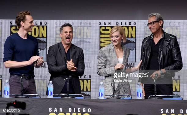 Actors Tom Hiddleston Mark Ruffalo Cate Blanchett and Jeff Goldblum attend the Marvel Studios 'Thor Ragnarok' Presentation during ComicCon...