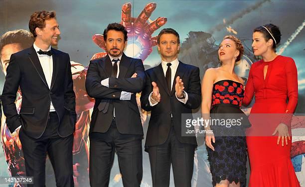 Actors Tom Hiddleston Robert Downey Jr Jeremy Renner Scarlett Johansson and Cobie Smulders attend the European Premiere of Marvel Studios' 'Marvel's...