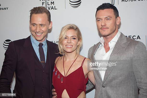 Actors Tom Hiddleston Sienna Miller and Luke Evans attend 'HighRise' New York premiere during the 2016 Tribeca Film Festival at SVA Theatre 2 on...