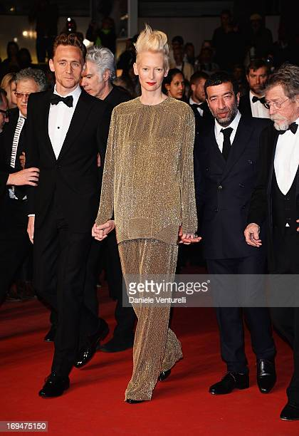 Actors Tom Hiddleston Tilda Swinton Slimane Dazi and John Hurt attend the Premiere of 'Only Lovers Left Alive' during the 66th Annual Cannes Film...