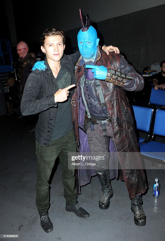 Actors Tom Holland and Michael Rooker attend the Marvel Studios presentation during ComicCon International 2016 at San Diego Convention Center on...