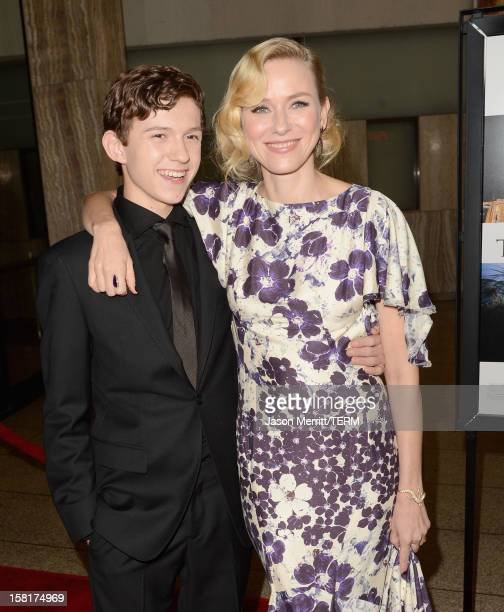 Actors Tom Holland and Naomi Watts attend the Los Angeles premiere of Summit Entertainment's 'The Impossible' at ArcLight Cinemas Cinerama Dome on...