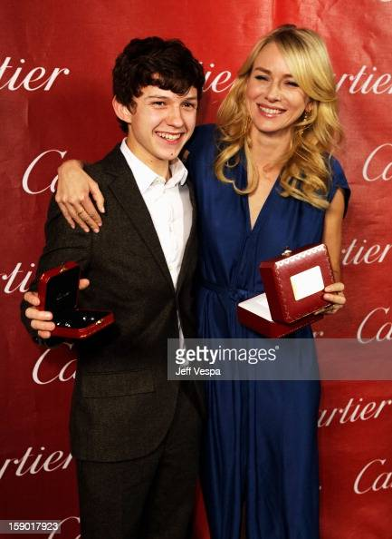 Actors Tom Holland and Naomi Watts pose with the Desert Palm Achievement Award Actress at the 24th annual Palm Springs International Film Festival...