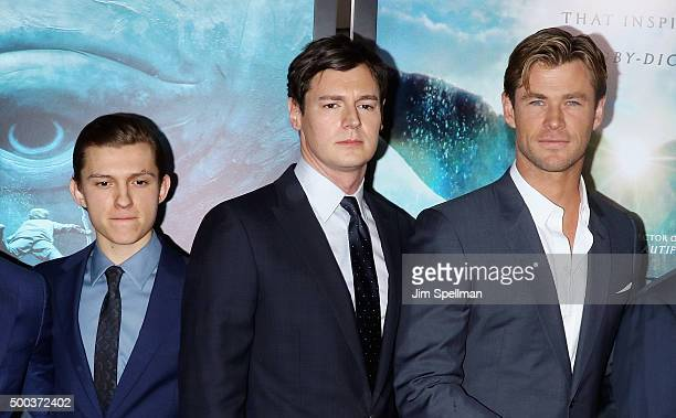 Actors Tom Holland Benjamin Walker and Chris Hemsworth attend the 'In The Heart Of The Sea' New York premiere at Frederick P Rose Hall Jazz at...