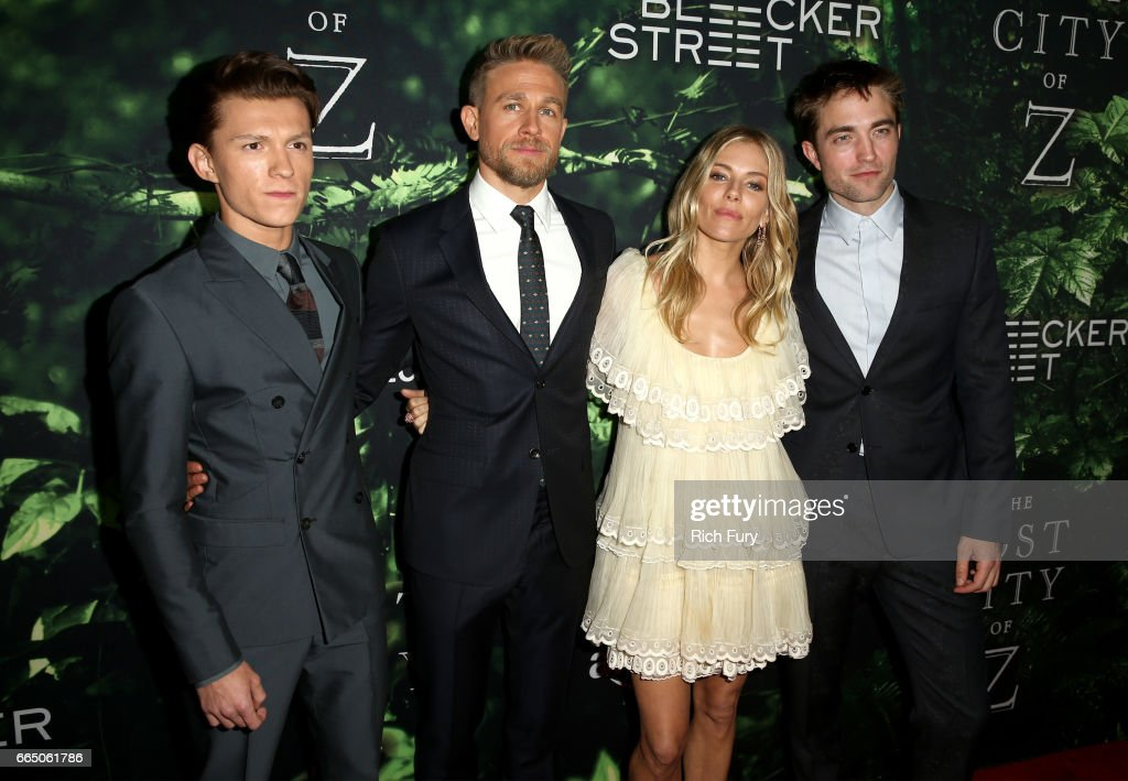 Actors Tom Holland, Charlie Hunnam, Sienna Miller, and Robert Pattinson attend the premiere of Amazon Studios' 'The Lost City Of Z' at ArcLight Hollywood on April 5, 2017 in Hollywood, California.