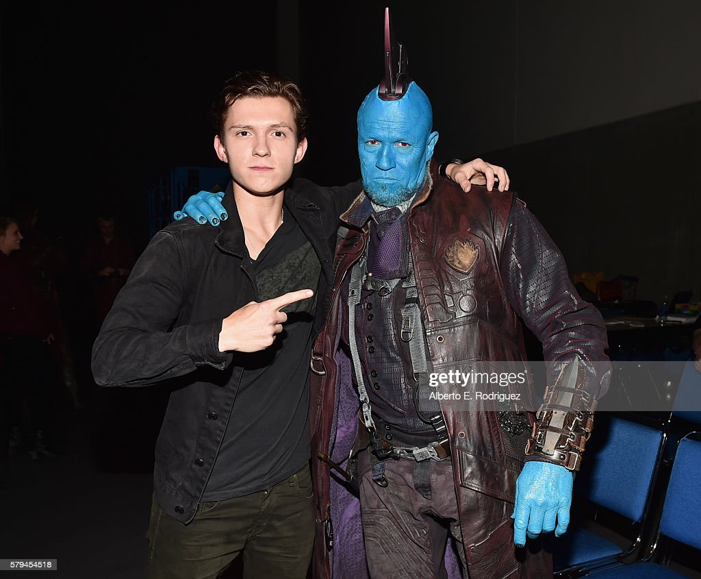"""Actors Tom Holland from Marvel Studios' 'SpiderMan Homecoming"""" and Yondu from Marvel Studios' 'Guardians Of The Galaxy Vol 2' attend the San Diego..."""