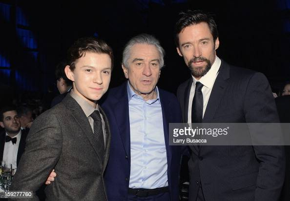 Actors Tom Holland Robert De Niro and Hugh Jackman attends the 18th Annual Critics' Choice Movie Awards held at Barker Hangar on January 10 2013 in...