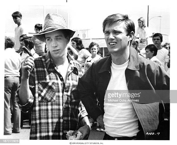 Actors Tom Hulce and Richard Thomas on set for the Universal Studios movie'September 30 1955' in 1977