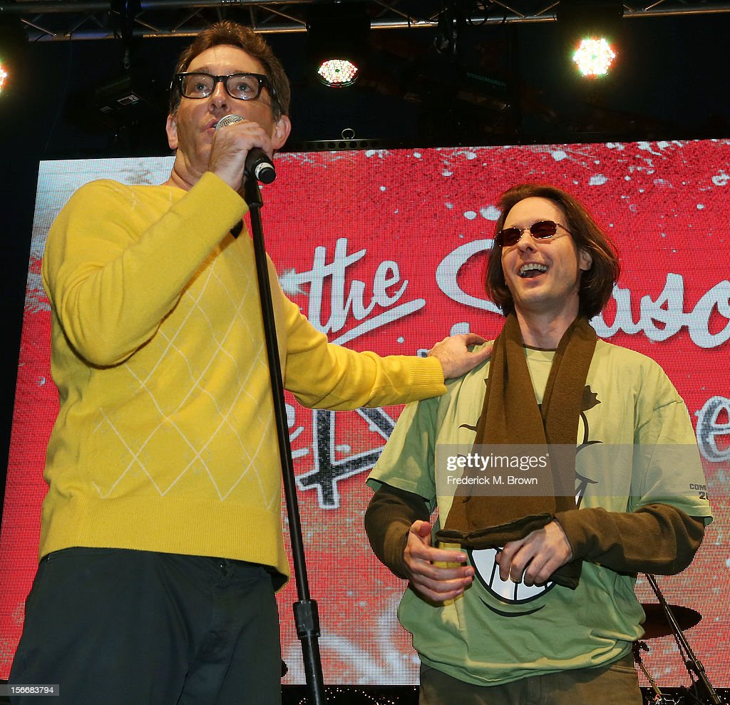 Actors Tom Kenny (L) and Mr. Lawrence perform during Nickelodeon's Spongebob Holiday Extravapants At The Grove on November 18, 2012 in Los Angeles, California.