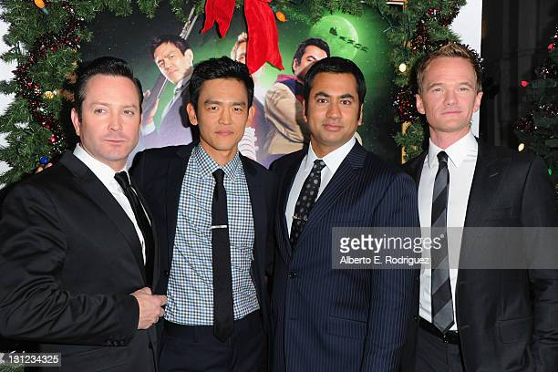 Actors Tom Lennon John Cho Kal Penn and Neil Patrick Harris arrive to the premiere of New Line Cinema's 'A Very Harold Kumar 3D Christmas' at...