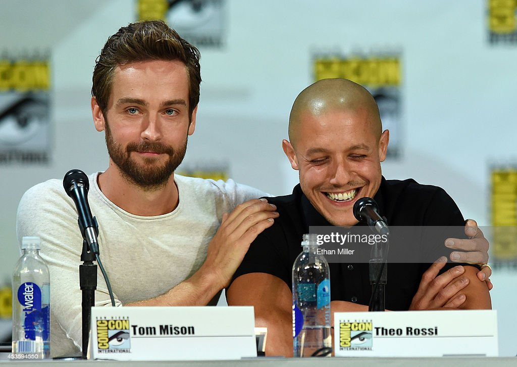Actors <a gi-track='captionPersonalityLinkClicked' href=/galleries/search?phrase=Tom+Mison&family=editorial&specificpeople=5449904 ng-click='$event.stopPropagation()'>Tom Mison</a> (L) and <a gi-track='captionPersonalityLinkClicked' href=/galleries/search?phrase=Theo+Rossi&family=editorial&specificpeople=4015330 ng-click='$event.stopPropagation()'>Theo Rossi</a> attend the Entertainment Weekly: Brave New Warriors panel during Comic-Con International 2014 at the San Diego Convention Center on July 25, 2014 in San Diego, California.