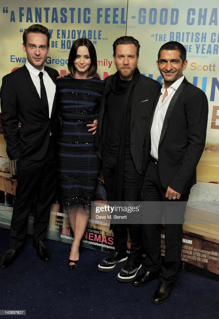 Actors Tom Mison Emily Blunt Ewan McGregor and Amr Waked attend the European Premiere of 'Salmon Fishing In The Yemen' at Odeon Kensington on April...