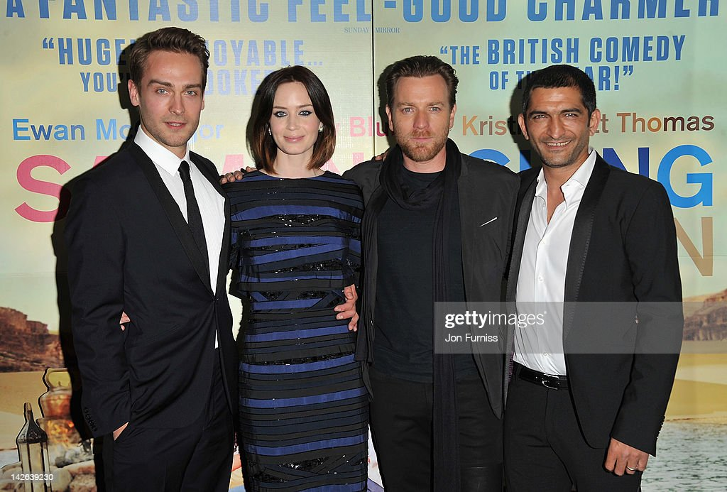 Actors Tom Mison Emily Blunt Ewan McGregor and Amr Waked attend the 'Salmon Fishing in the Yemen' European Premiere at the Odeon Kensington on April...