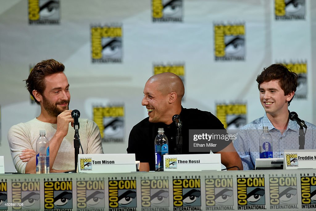 Actors Tom Mison, Theo Rossi and Freddie Highmore attend the Entertainment Weekly: Brave New Warriors panel during Comic-Con International 2014 at the San Diego Convention Center on July 25, 2014 in San Diego, California.