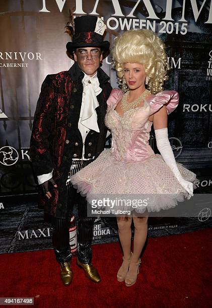 Actors Tom Sandoval and Ariana Madix attend The Official MAXIM Halloween Party produced by Karma International on October 24 2015 in Beverly Hills...