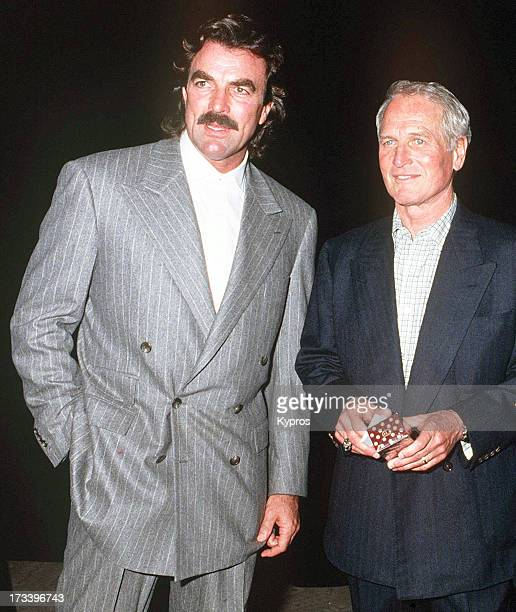 Actors Tom Selleck and Paul Newman during a benefit in honour of George Schlatter at the Scott Newman Center USA November 1992