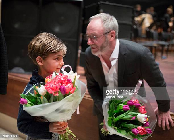 Actors Tom Sweet and Liam Cunningham talk to each other after the screening of the Dutch premiere and the closing film 'The Childhood Of A Leader' at...