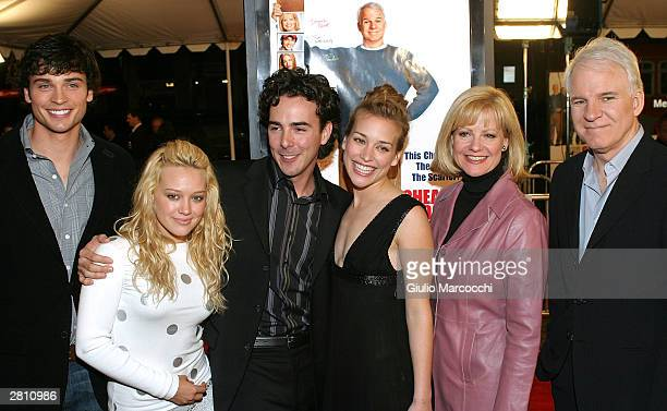 Actors Tom Welling and Hilary Duff director Shawn Levy and actors Piper Perabo Bonnie Hunt and Steve Martin attend the Cheaper By The Dozen Premiere...