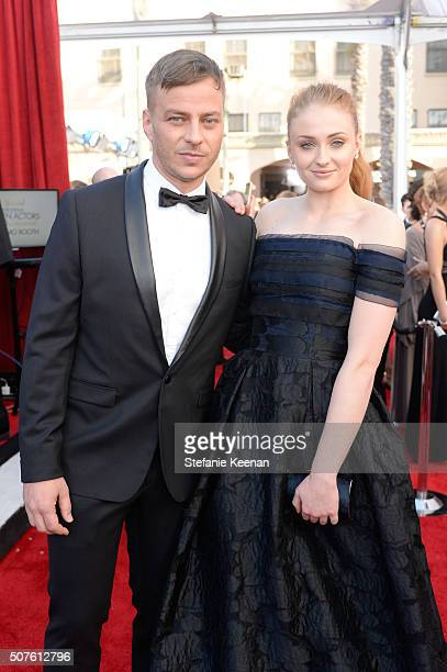 Actors Tom Wlaschiha and Sophie Turner attend The 22nd Annual Screen Actors Guild Awards at The Shrine Auditorium on January 30 2016 in Los Angeles...