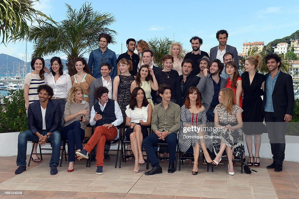 Actors Tomer Sisley Alice Taglioni Clement Sibony Aure Atika Pierre Niney Elodie Navarre and Lea Drucker attend the photocall for 'Jeunes Talents...