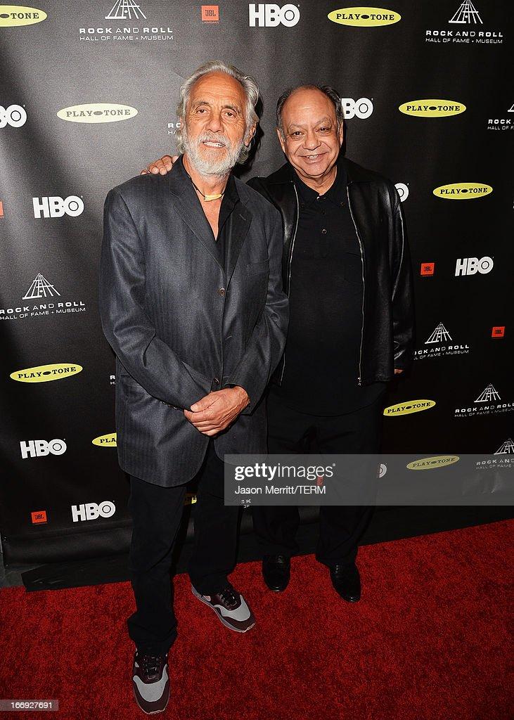 Actors <a gi-track='captionPersonalityLinkClicked' href=/galleries/search?phrase=Tommy+Chong&family=editorial&specificpeople=221475 ng-click='$event.stopPropagation()'>Tommy Chong</a> and <a gi-track='captionPersonalityLinkClicked' href=/galleries/search?phrase=Cheech+Marin&family=editorial&specificpeople=211528 ng-click='$event.stopPropagation()'>Cheech Marin</a> arrive at the 28th Annual Rock and Roll Hall of Fame Induction Ceremony at Nokia Theatre L.A. Live on April 18, 2013 in Los Angeles, California.