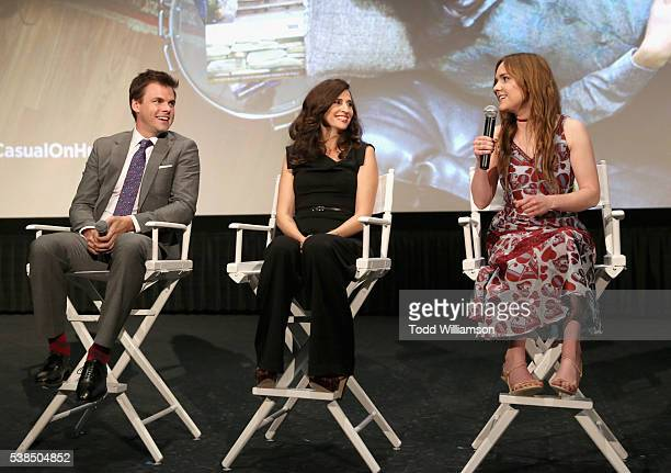 Actors Tommy Dewey Michaela Watkins and Tara Lynne Barr speak onstage during the 'Casual' Season 2 premiere and FYC event at ArcLight Hollywood on...