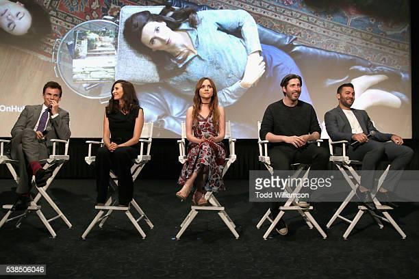Actors Tommy Dewey Michaela Watkins Tara Lynne Barr executive producers Jason Reitman and Zander Lehmann speak onstage during the 'Casual' Season 2...