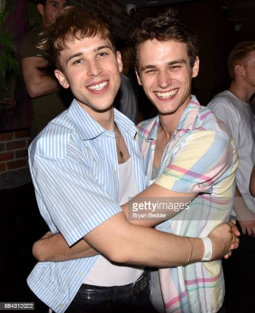 Actors Tommy Dorfman and Brandon Flynn attend the Lukas Graham Pepsi Sound Drop Performance at Kola House on May 17 2017 in New York City