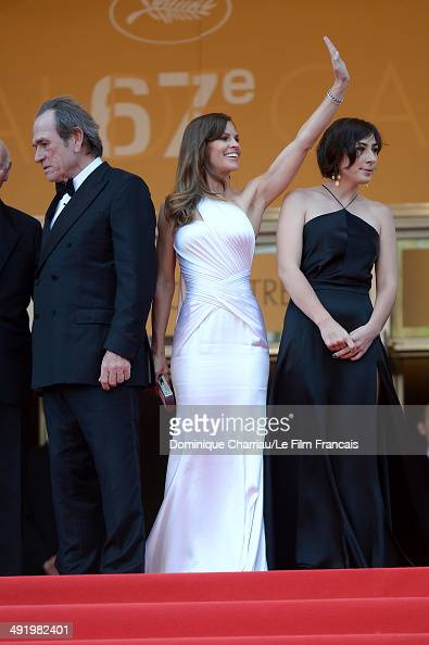 Actors Tommy Lee Jones and Hilary Swank attend 'The Homesman' Premiere at the 67th Annual Cannes Film Festival on May 18 2014 in Cannes France