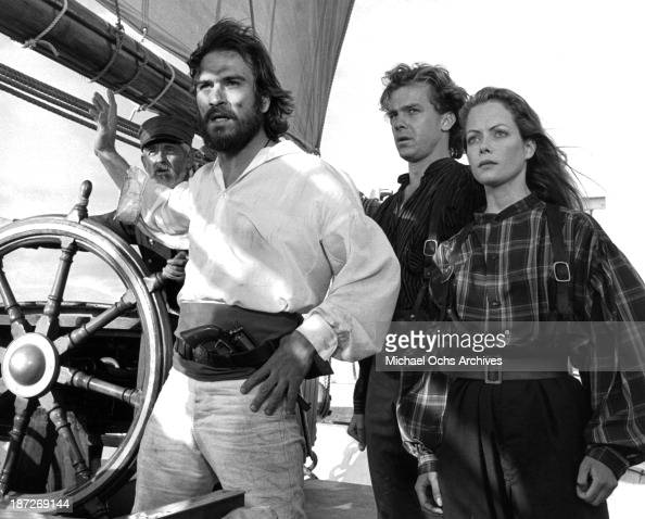 Actors Tommy Lee Jones Michael O'Keefe and actress Jenny Seagrove on set of the Paramount Pictures movie 'Savage Islands' in 1983