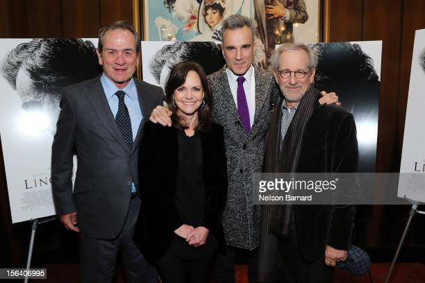 Actors Tommy Lee Jones Sally Field Daniel DayLewis and director Steven Spielberg attend the special screening of Steven Spielberg's Lincoln at the...
