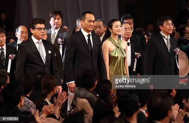 Actors Tomokazu Miura Ken Watanabe Kyoka Suzuki and director Setsuro Wakamatsu attend the 33rd Japan Academy Aawrds at Grand Prince Hotel New...