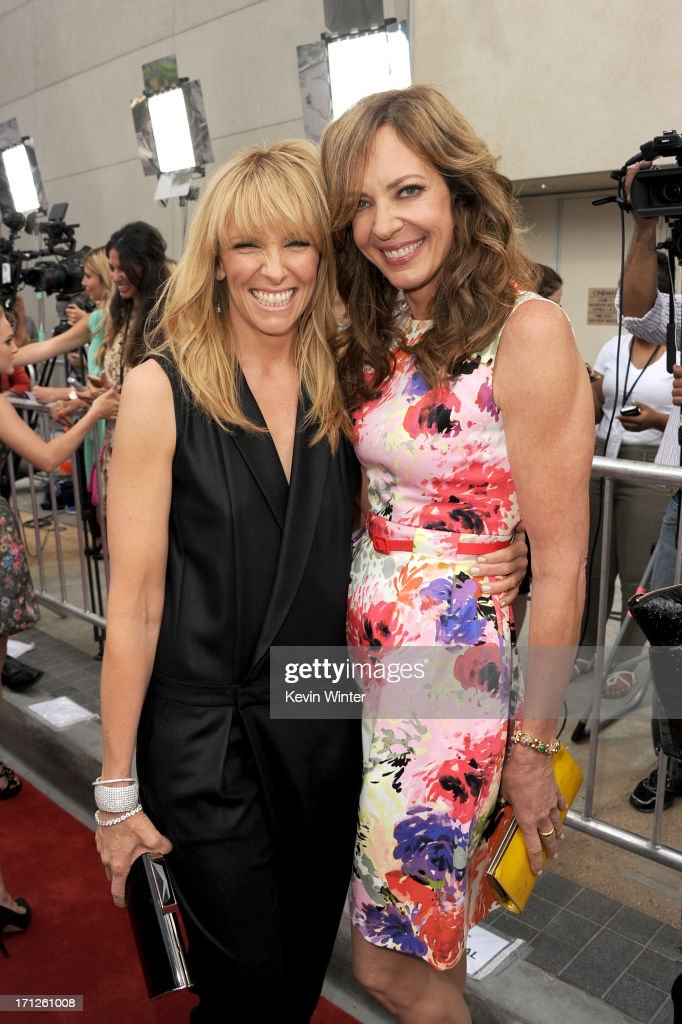 Actors <a gi-track='captionPersonalityLinkClicked' href=/galleries/search?phrase=Toni+Collette&family=editorial&specificpeople=204673 ng-click='$event.stopPropagation()'>Toni Collette</a> (L) and <a gi-track='captionPersonalityLinkClicked' href=/galleries/search?phrase=Allison+Janney&family=editorial&specificpeople=206290 ng-click='$event.stopPropagation()'>Allison Janney</a> attend the premiere of Fox Searchlight Pictures' 'The Way, Way Back' at Regal Cinemas L.A. Live on June 23, 2013 in Los Angeles, California.