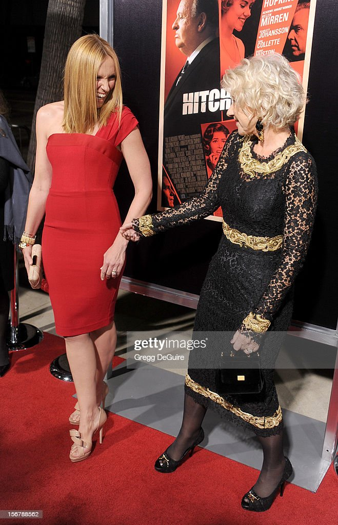 Actors Toni Collette and Helen Mirren arrive at the Los Angeles premiere of 'Hitchcock' at the Academy of Motion Picture Arts and Sciences on November 20, 2012 in Beverly Hills, California.