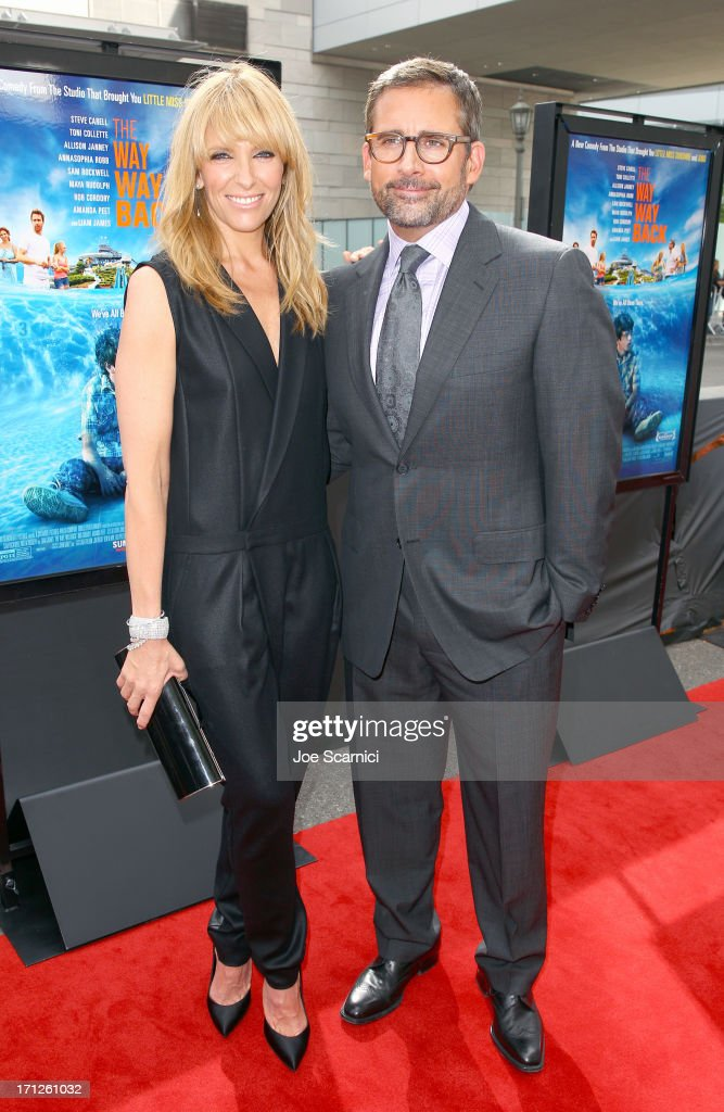 Actors <a gi-track='captionPersonalityLinkClicked' href=/galleries/search?phrase=Toni+Collette&family=editorial&specificpeople=204673 ng-click='$event.stopPropagation()'>Toni Collette</a> and <a gi-track='captionPersonalityLinkClicked' href=/galleries/search?phrase=Steve+Carell&family=editorial&specificpeople=595491 ng-click='$event.stopPropagation()'>Steve Carell</a> attend 'The Way, Way Back' premiere sponsored by DIRECTV during the 2013 Los Angeles Film Festival at Regal Cinemas L.A. Live on June 23, 2013 in Los Angeles, California.