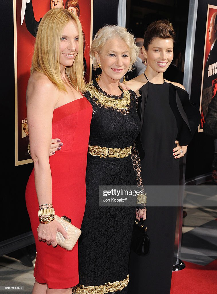 Actors Toni Collette, Helen Mirren and Jessica Biel arrive at the Los Angeles Premiere 'Hitchcock' at AMPAS Samuel Goldwyn Theater on November 20, 2012 in Beverly Hills, California.
