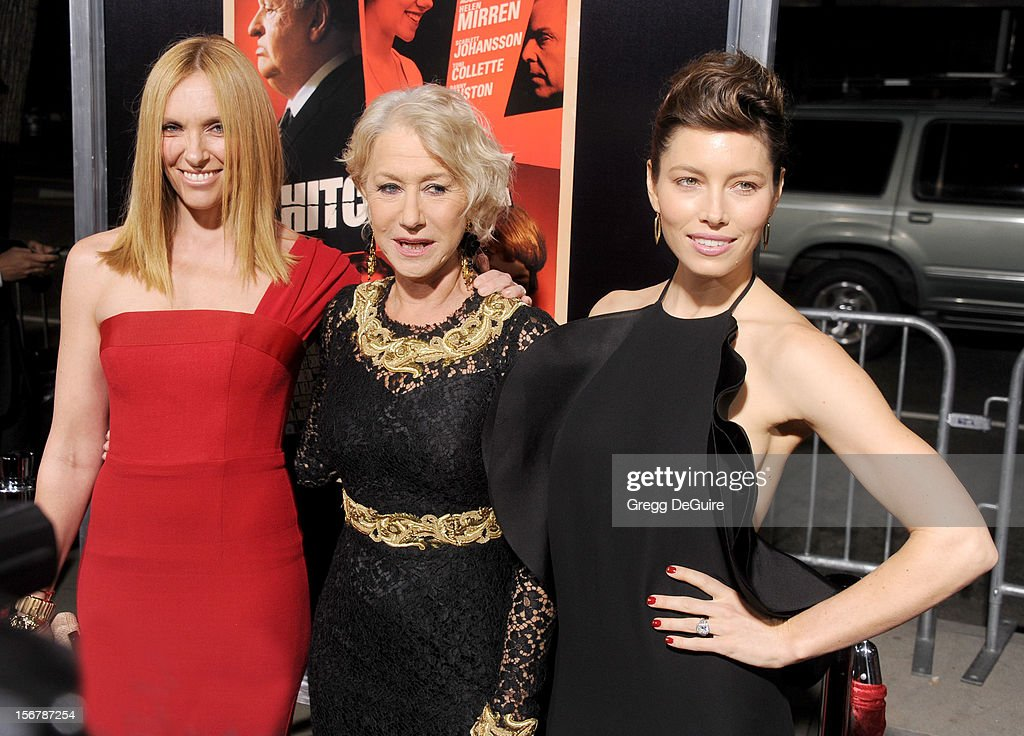 Actors Toni Collette, Helen Mirren and Jessica Biel arrive at the Los Angeles premiere of 'Hitchcock' at the Academy of Motion Picture Arts and Sciences on November 20, 2012 in Beverly Hills, California.