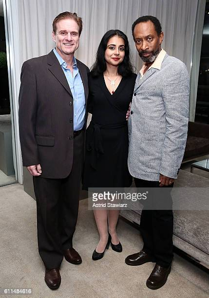 Actors Tony Carlin Mahira Kakkar and Michael Rogers attend 'The Trial Of An American President' After Party at The Lindeman on September 29 2016 in...