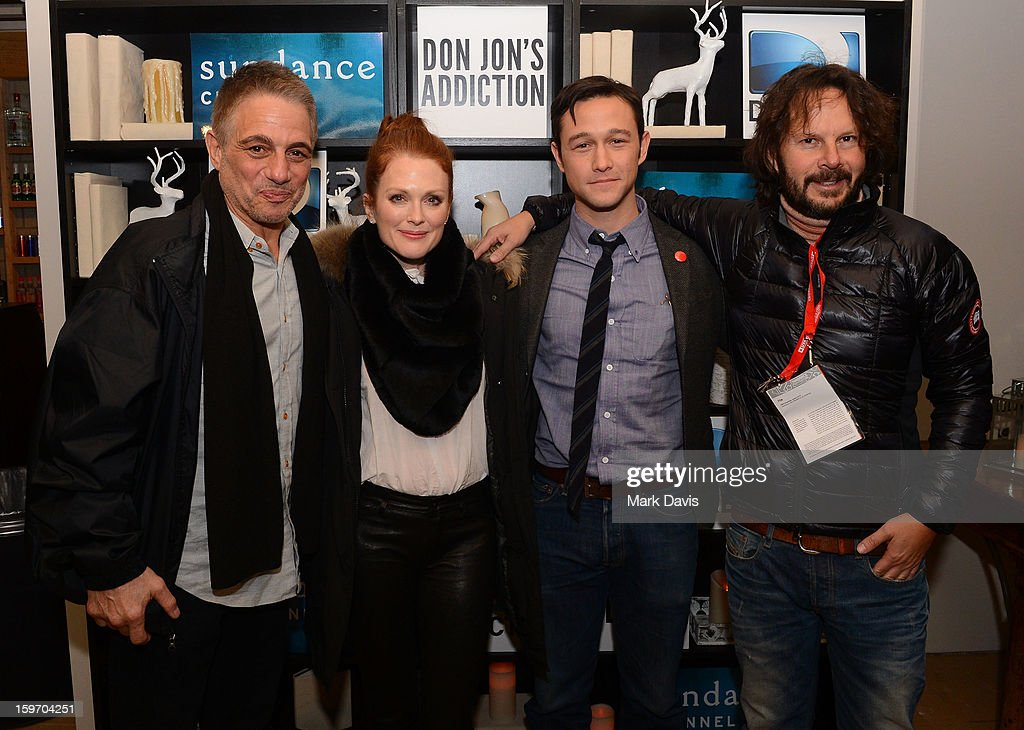 Actors Tony Danza, Julianne Moore, Joseph Gordon-Levitt and producer Ram Bergman pose at the 'Don Jon's Addiction' premiere party hosted by DirecTV and Sundance Channel on January 18, 2013 in Park City, Utah.