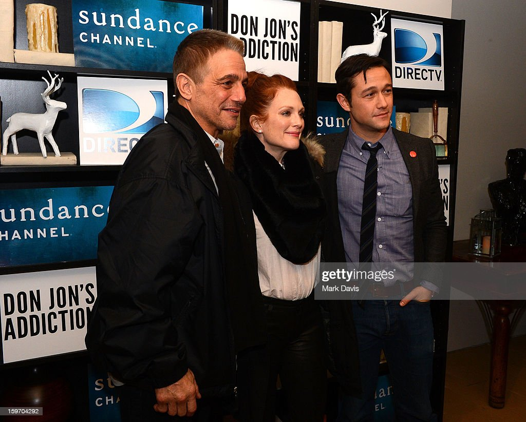 Actors Tony Danza, Julianne Moore, Joseph Gordon-Levitt pose at the 'Don Jon's Addiction' premiere party hosted by DirecTV and Sundance Channel on January 18, 2013 in Park City, Utah.
