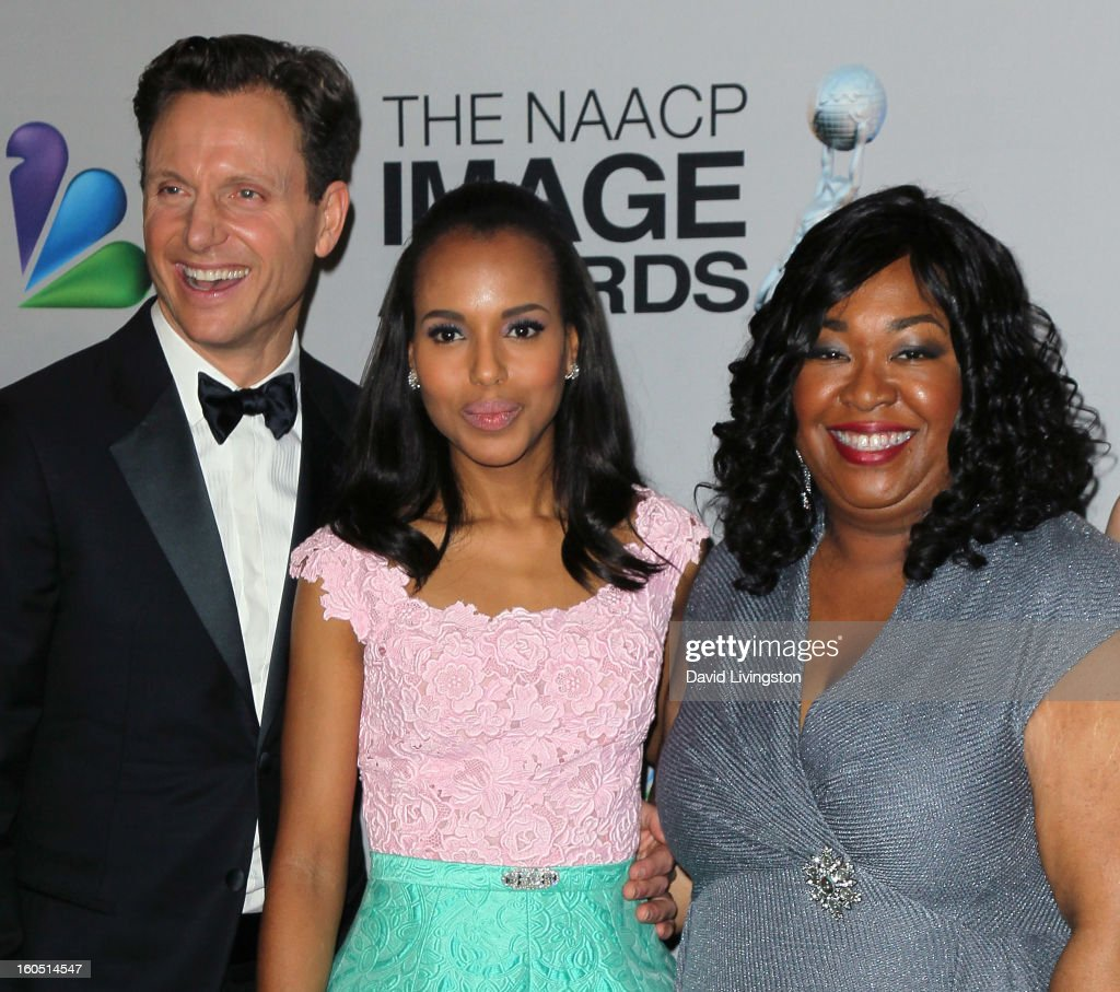 Actors Tony Goldwyn and Kerry Washington and writer Shonda Rhimes pose in the press room at the 44th NAACP Image Awards at the Shrine Auditorium on February 1, 2013 in Los Angeles, California.